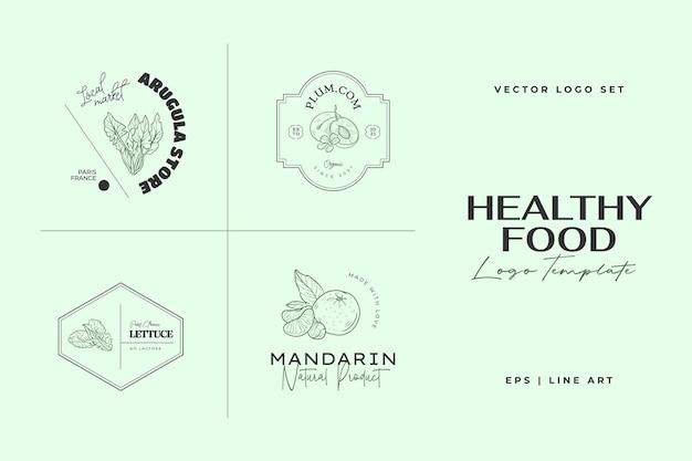 Illustrazioni disegnate a mano del modello di logo di cibo sano per il ristorante