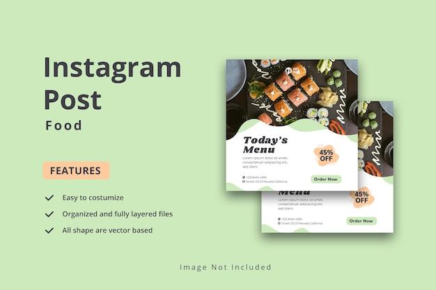 Post sui social media del menu di cibo sano