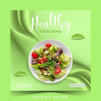 Modello di social media per menu di cibo sano per la promozione