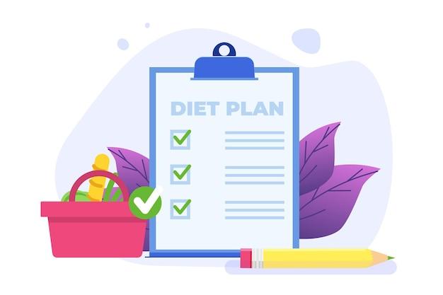 Cibo sano e nutrizione concetto di pianificazione della dieta.