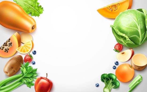 Cibo sano, modello di cornice di frutta biologica Vettore Premium