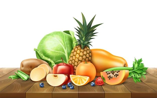 Cibo sano, frutta biologica al tavolo di legno