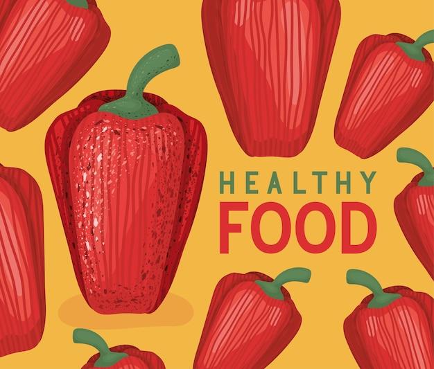 Poster di cibo sano con peperoni