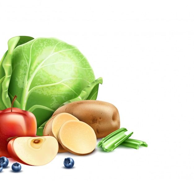 Design del pacchetto di prodotti alimentari sani con frutta, verdura e bacche biologiche