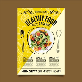 Modello di volantino ristorante cibo sano
