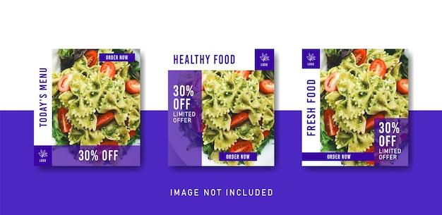 Modello di post instagram social media cibo sano in stile colore viola
