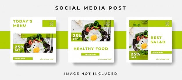 Modello di post sui social media di cibo sano