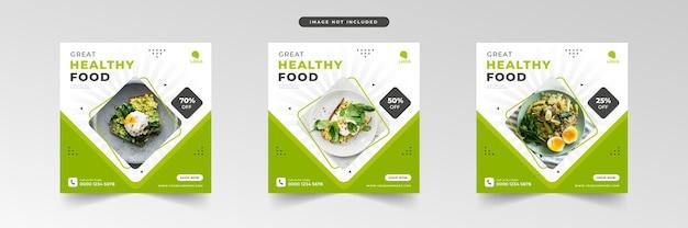 Promozione dei social media di cibo sano e raccolta di modelli di banner post design