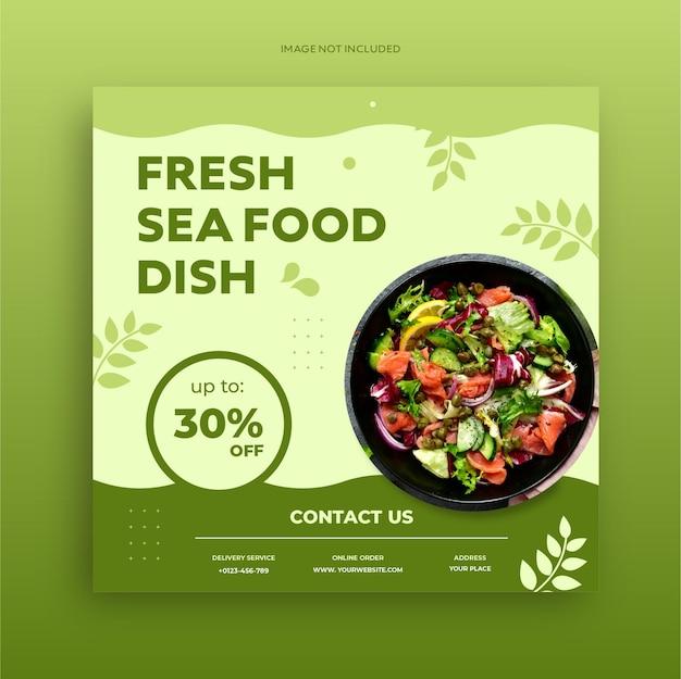 Volantino per la promozione dei social media di cibo sano e modello di progettazione di banner post psd