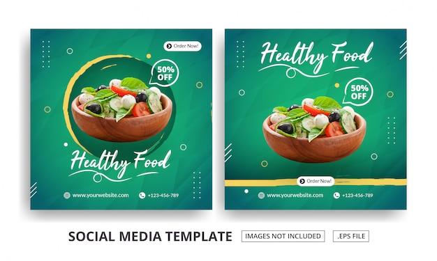Modello di banner quadrato di cibo sano