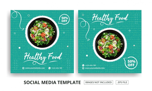 Modello di banner quadrato di cibo sano Vettore Premium