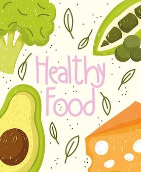 Cibo sano verdure formaggio nutrizione e illustrazione fresca