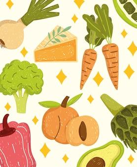 Cibo sano verdure formaggio pesche fresche illustrazione di sfondo
