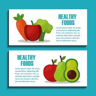 Cibo sano stile di vita frutta verdura nutrizione banner