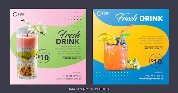 Banner di bevanda di succo fresco sano per modello di post sui social media