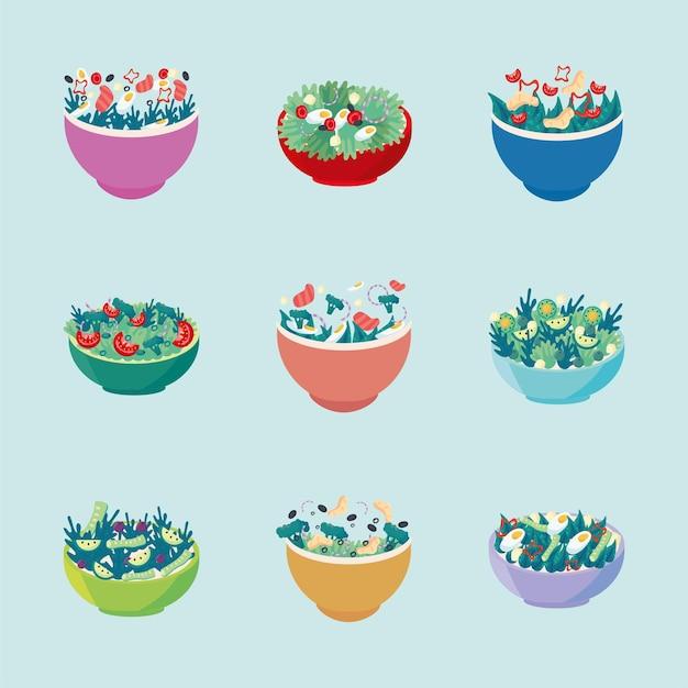 Sane insalate fresche in ciotole