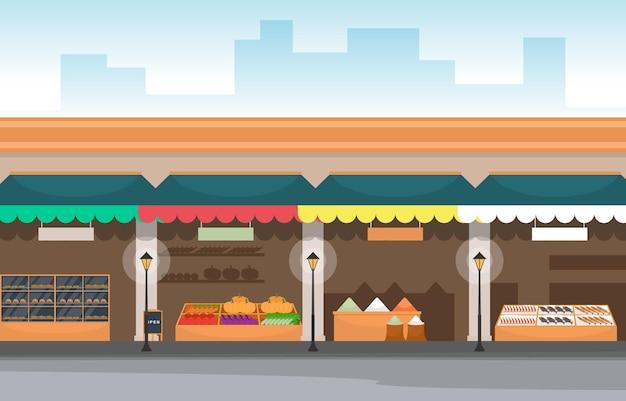 Drogheria sana del supporto della stalla del deposito della verdura della frutta nell'illustrazione della città