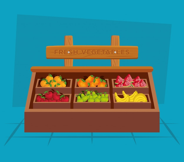 Nutrizione fresca di frutta e verdura sana