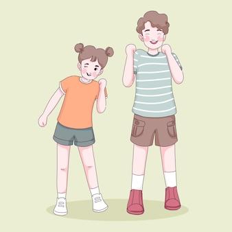 Cartone animato ragazza e ragazzo in buona salute