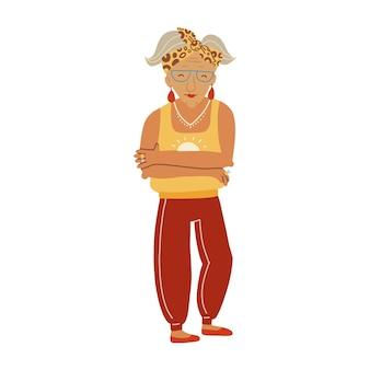 Nonna in buona salute personaggio di una vecchia signora attiva in moda casual alla moda donna anziana