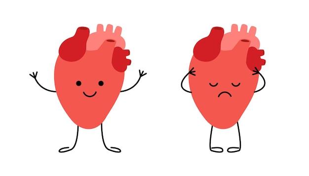 Cuore sano felice e personaggi del cuore malato malsano e triste controlla la salute del cuore organo interno