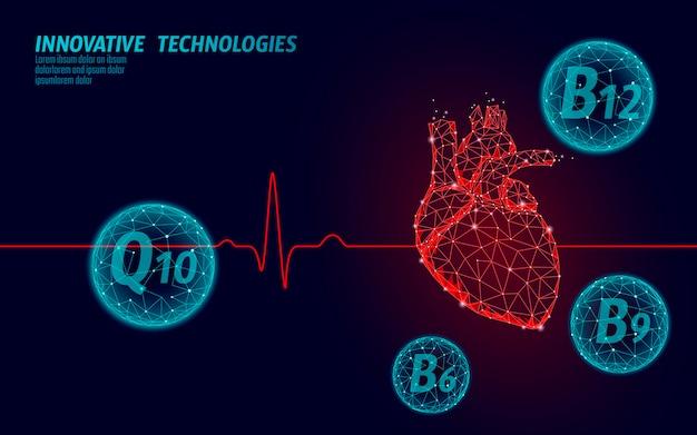 Il cuore sano batte il modello di medicina 3d in basso poli. triangolo collegato punti punto luce bagliore sfondo rosso. la tecnologia innovativa moderna q10 b12 del supplemento di vitamina rende l'illustrazione