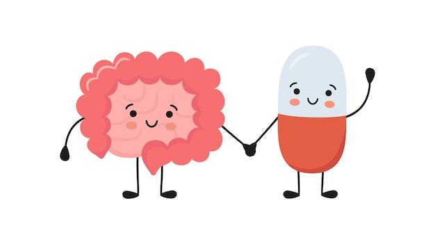 Intestino sano e personaggi sorridenti della pillola di medicina si tengono per mano