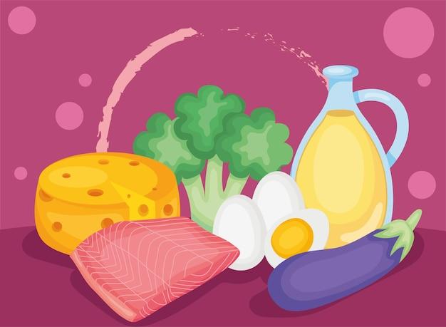 Gruppo di icone di cibo sano keto