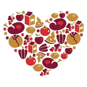 Vita sana - a forma di cuore con icone vettoriali di cibo