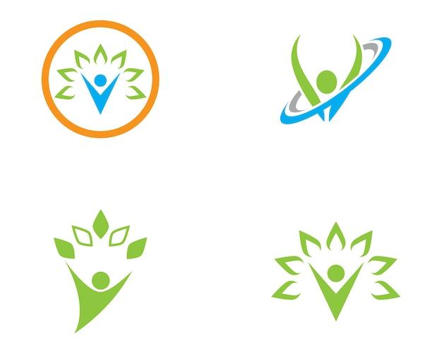 Modello di logo di persone di vita sana