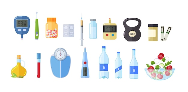 Set di attributi di stile di vita sano. attrezzature sanitarie moderne, benessere, equilibrio della vita, medicinali, vitamine