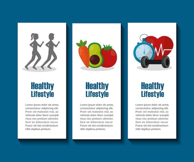 Banner stile di vita sano cibo e sport