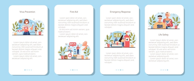 Set di banner per applicazioni mobili di classe di stile di vita sano. illustrazione vettoriale isolato