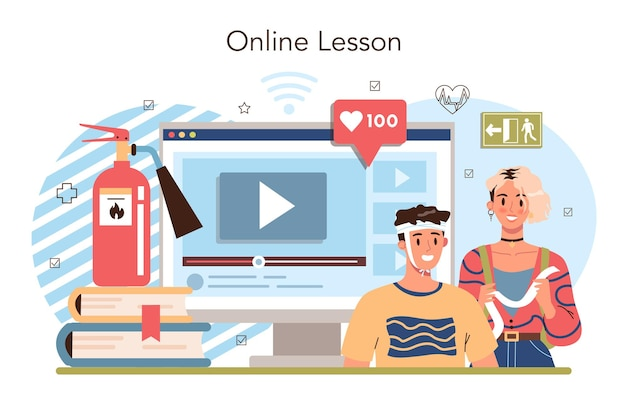 Servizio online di classe di stile di vita sano o idea di piattaforma per la sicurezza della vita