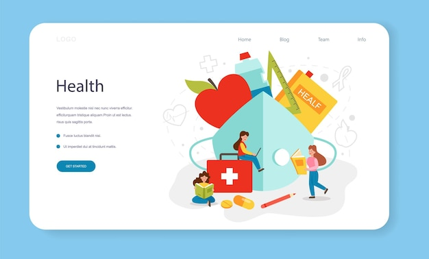 Banner web di classe di stile di vita sano o idea della pagina di destinazione della sicurezza della vita