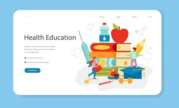 Banner web o pagina di destinazione della classe di stile di vita sano. idea di sicurezza per la vita