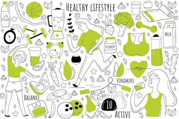 Insieme di doodle di stile di vita sano. raccolta di schizzi disegnati a mano scarabocchi.