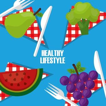 Frutta stile di vita sano sul coltello da tavola tovagliolo