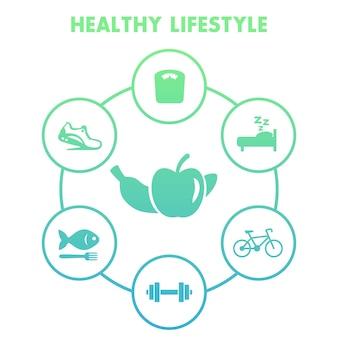 Icone di stile di vita sano su bianco, dieta, ricreazione, attività di fitness, jogging, cibo sano, illustrazione vettoriale
