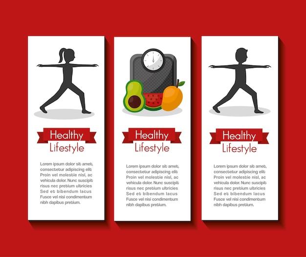 Stile di vita sano persone sport attività cibo frutta dieta banner