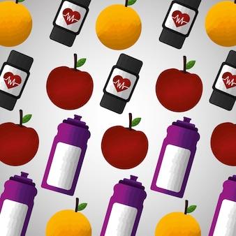 Stile di vita sano sport palestra mela arancione modello di orologio intelligente