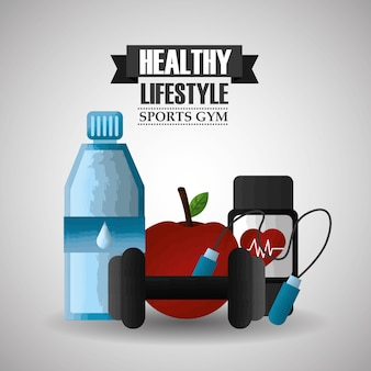 Stile di vita sano sport palestra apple guardare bilanciere bottiglia d'acqua