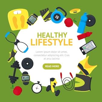 Strumenti di stile di vita sano round design template banner card abbigliamento e attrezzature per lo stile di design piatto sportivo su verde. illustrazione vettoriale