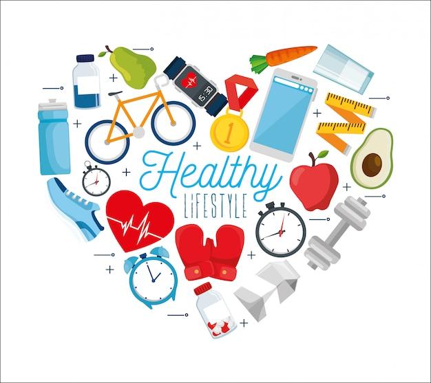 Stile di vita sano con composizione di elementi correlati