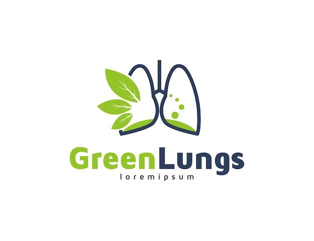 Concetto di logo dei polmoni sani con l'illustrazione delle foglie verdi