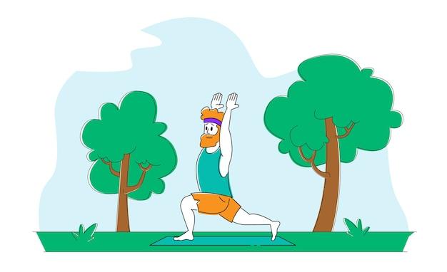 Uomo in buona salute che fa yoga asana o esercizio di aerobica in piedi