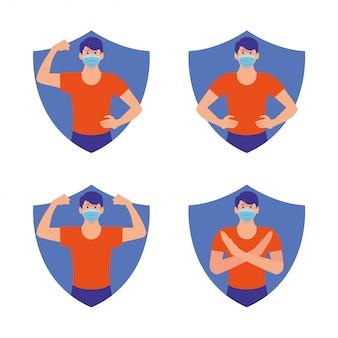 Uomo in buona salute protetto dal virus con un simbolo di scudo