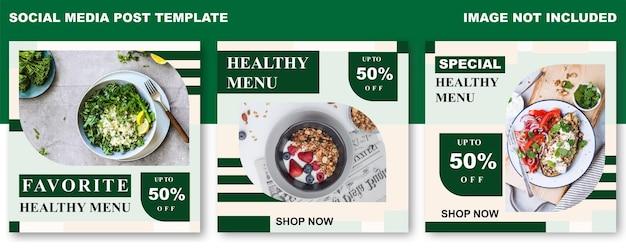 Modello di post sui social media del menu sano