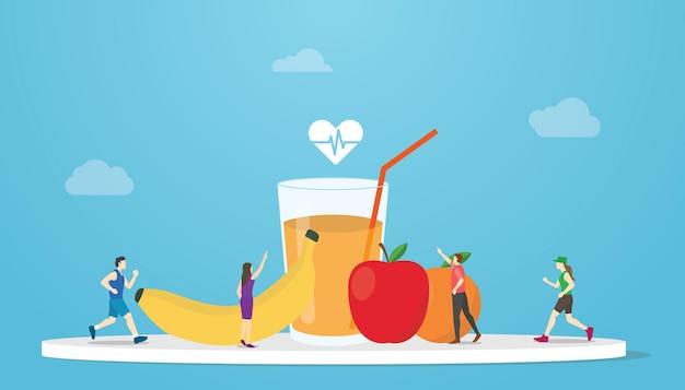 Concetto di dieta organica sana con frutta e succhi