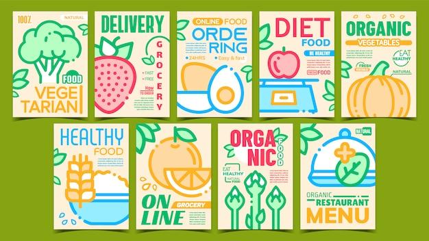 Set di manifesti pubblicitari di alimenti biologici sani
